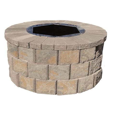 pits home depot pavestone 40 in w x 20 in h rockwall pit kit