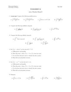 indefinite integral lesson plans worksheets lesson planet