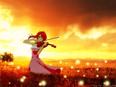 Violin Wallpaper Anime - anime series lacordo pink dress sunset violin