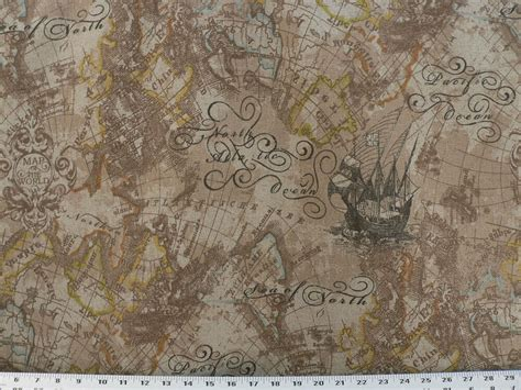 Nautical Upholstery by Drapery Upholstery Fabric Linen Base Cloth Vintage