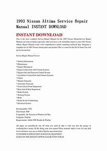 1993 Nissan Altima Service Repair Manual Instant Download