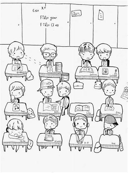 Exo Fanart Class Chibi Fan Kpop Coloring