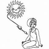 Sunbathing Sun Coloring Sheet Freecoloringsheets Sky sketch template