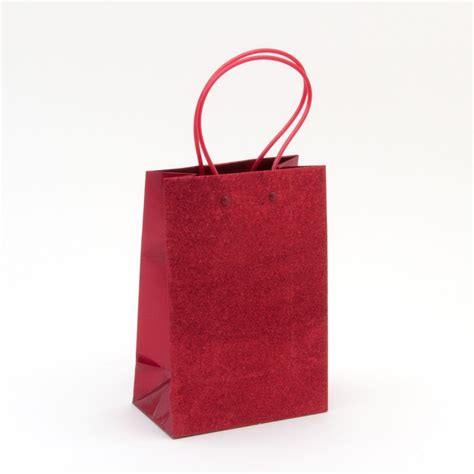 red glitter small gift bag