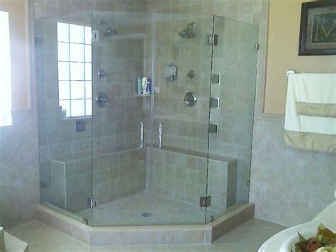 framless corner glass shower enclosure   bifold
