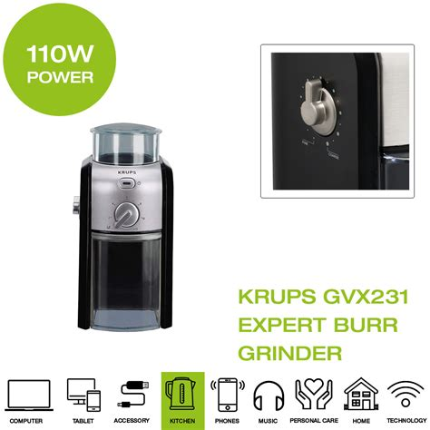 12 x 16 x 26cm h. Krups Expert Burr Coffee Grinder - Black   eBay