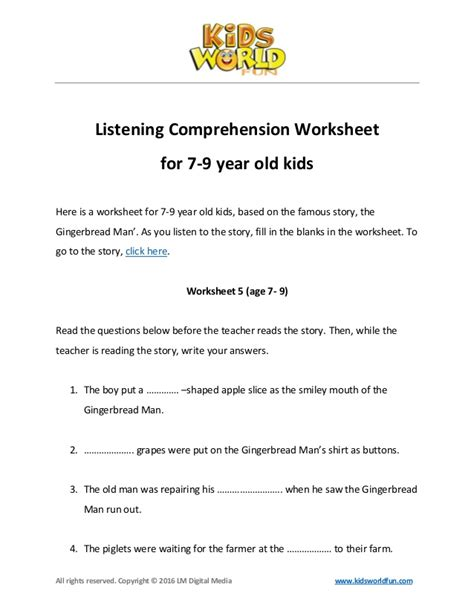 listening comprehension worksheet for 7 9 year