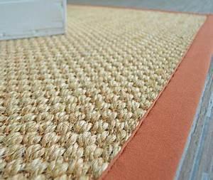 patna paille ganse coton rouille With tapis sisal sur mesure