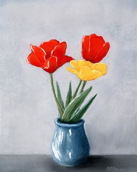flowers   vase painting  anastasiya malakhova