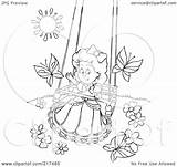Outline Swing Coloring Clipart Playing Royalty Butterflies Illustration Rf Pages Template Bannykh Alex Tattoo Regarding Notes Copyright Without sketch template