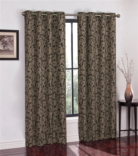 colormate flocked scroll grommet window panel