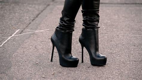 Walking In Knee High Heel Boots