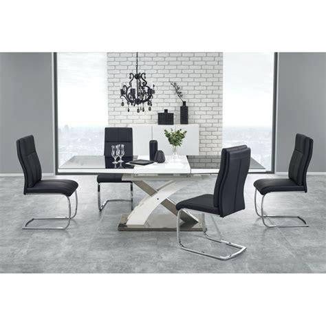 table a manger design noir et blanc avec rallonge cesar so inside