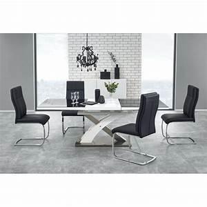 Table a manger design noir et blanc avec rallonge cesar for Table de salle a manger design avec rallonge