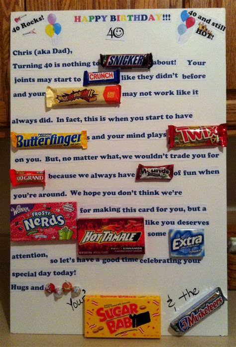 Start sending birthday cards with a little more added fun! Candy card for 40th birthday   Bday ideas   Pinterest   40 ...