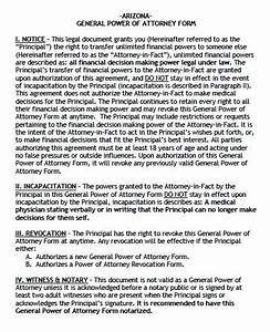 Poa For Child Free General Power Of Attorney Arizona Form Pdf Word