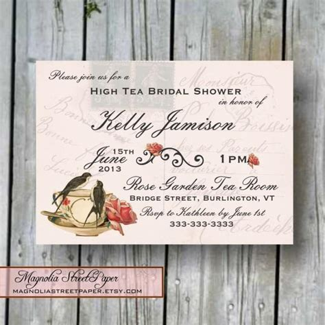 custom printable high tea bridal shower invitation