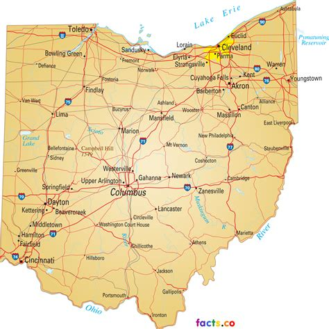 map  ohio showing cities  travel information