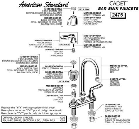 standard cadet kitchen faucet standard kitchen faucet parts sink faucet parts