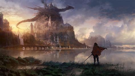 fantasy dragon  sitting  top  castle  body