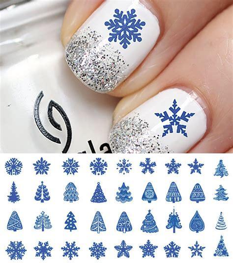 blue christmas nail art decals set  moon sugar decals