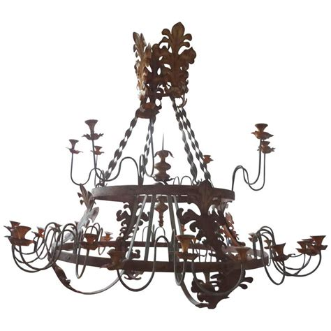 monumental italian wrought iron thirty two light