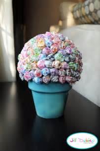 14 inch cake stand lollipop tree styrofoam on top of a flower pot