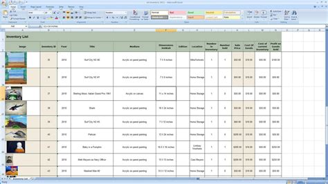 inventory spreadsheet  small business