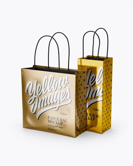 Please note, the 3d model is intentionally simplified and optimized for viewing in your browser. Two Metallic Paper Bags Mockup - Half Side View - Metallic ...