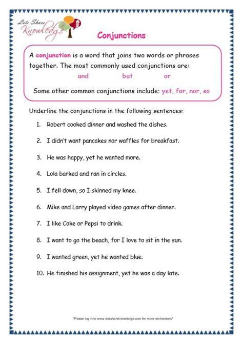 page 2 conjunctions worksheet grammar adverbs