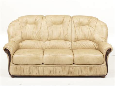 canape vente canapé 3 places en cuir de vachette coloris beige debora