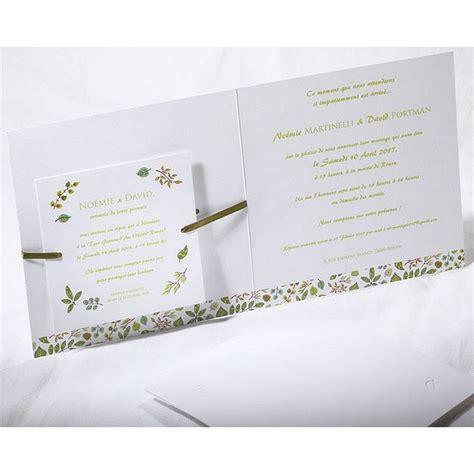 faire part mariage thème nature chic faire part mariage chic nature blanc vert faire part