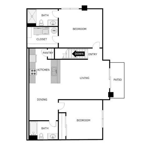 Split Bedroom Floor Plan by 2 Bedroom Bath Split Floor Plans