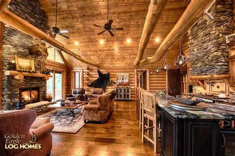 Open Plan Kitchen Family Room Ideas - golden eagle log and timber homes log home cabin pictures photos south carolina 2310ar