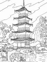 Temple Chinese Coloring China Adult Asia Pages sketch template