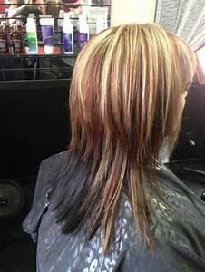 reddish brown lowlight and blonde highlight with dark ...