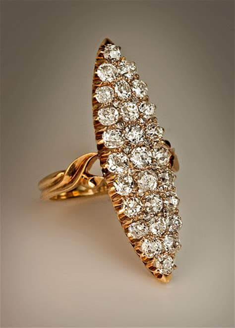 antique marquise shaped  ct diamond cluster ring
