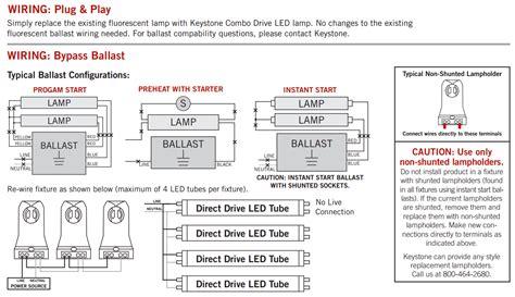 keystone 4 combo drive 15w glass coated t8 led bypass direct