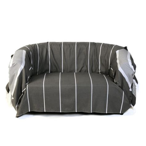 jete canape jeté de canapé 100 coton 2 x 3m gris anthracite et