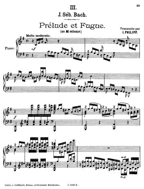 Prelude And Fugue In E Minor Bwv 533 Bach Johann