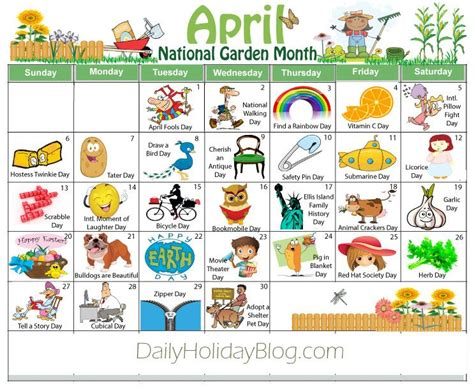 Download your free April holiday calendar! Cute! | Weird ...