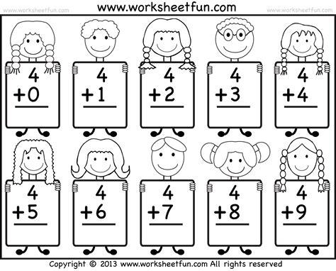 Beginner Addition  Basic Addition Facts  9 Kindergarten Addition Worksheets  Free Printable