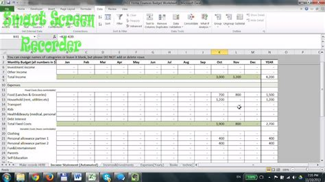 household budget spreadsheet  excel