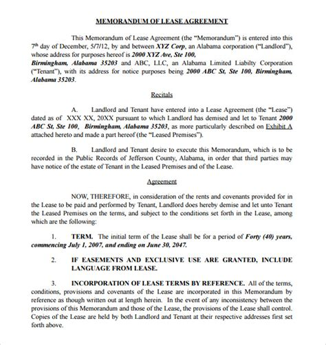 memorandum  lease agreement samples   ms word
