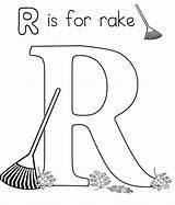 Coloring Alphabet Rake Preschool Worksheets Letter Words sketch template