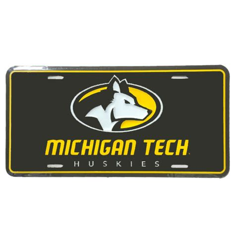 ii michigan tech logo license plate michigan tech