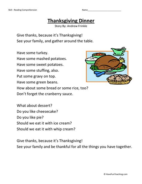 reading comprehension worksheet thanksgiving dinner