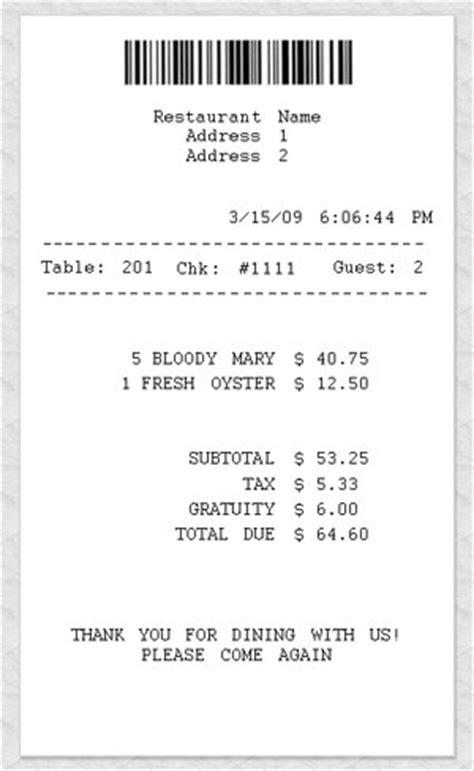 restaurant receipt template restaurant sale receipt