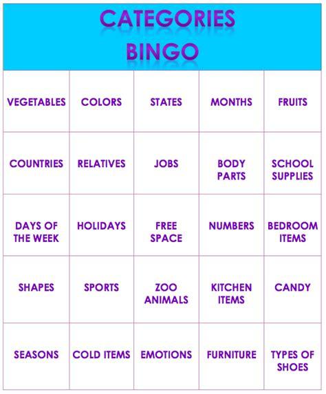 Speech and Language LaunchPad: Categories Bingo