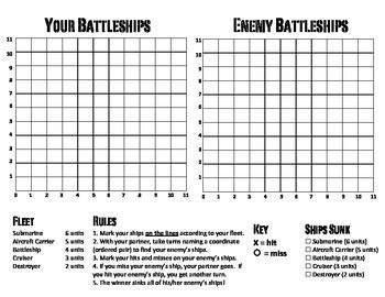 Battleship Game Grid Coordinates Worksheets Create « The Best 10+ Battleship Games